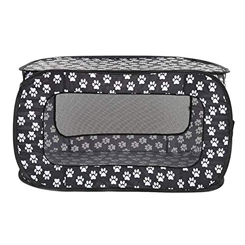 Kalmerende Bed Plush Portable Folding Rechthoekige Pet Tent Hond Cage Box Fence Puppiekennel Dog Tag (Color : Black, Size : As show)